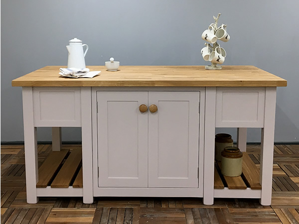 Large Freestanding Kitchen Island with Oak Worktop