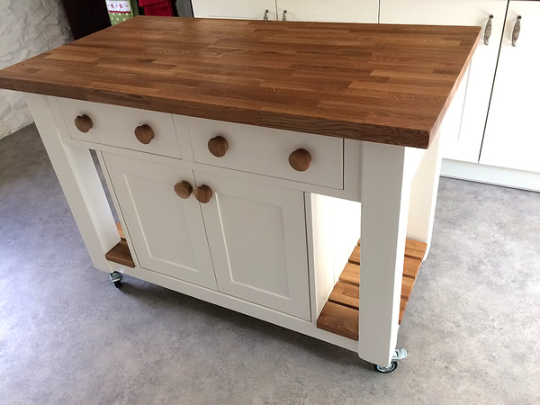 Freestanding Kitchen Island with Double Wide Dovetailed Drawers