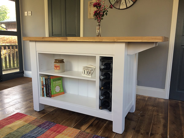 Freestanding kitchen island with bookcase & breakfast bar