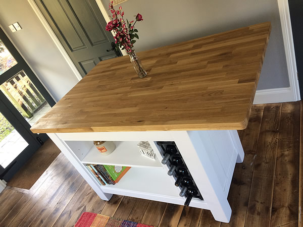 Medium Freestanding Kitchen Island with Double Oak Worktop Breakfast Bars