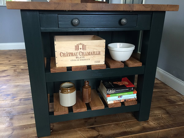 Large freestanding kitchen island with small dovetailed drawer
