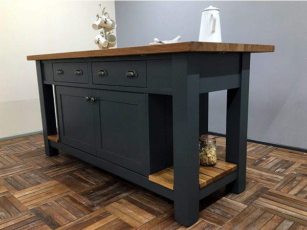 Medium Freestanding Kitchen Island with Double Drawers & Cupboard