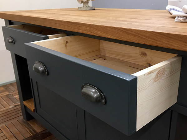 Medium Freestanding Kitchen Island with Wide, Dovetail Jointed Drawers