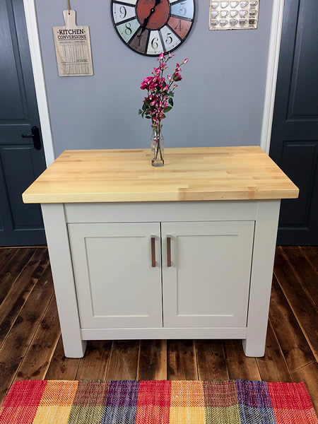 Small Freestanding Kitchen Island with Double Cupboard