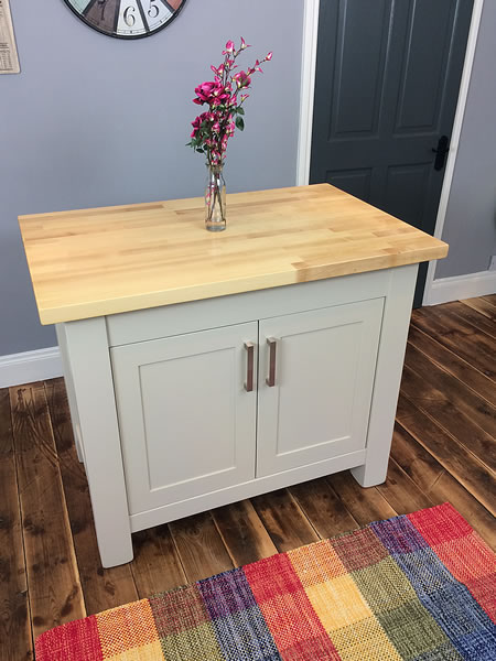 Small Freestanding Kitchen Island Painted in Farrow & Ball 'Stony Ground' Eggshell