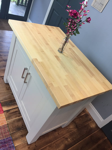Small Freestanding Kitchen Island with an Oiled Maple Worktop