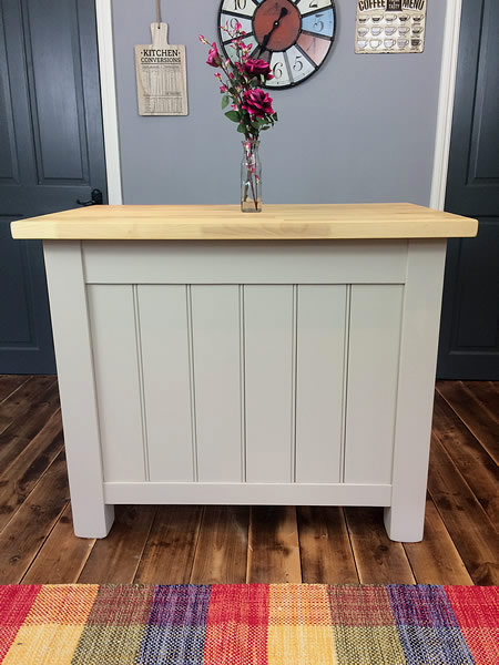 Small freestanding kitchen island tongued & grooved rear panel