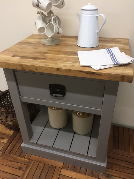 freestanding butcher's trolley kitchen worktable with a single deep drawer