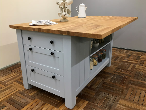 Freestanding Kitchen Island with 3 Drawers & Bookcase