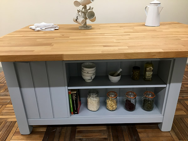 Freestanding Kitchen Island with 3 Drawers & Long Breakfast Bar
