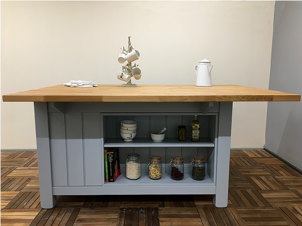 Freestanding Kitchen Island with Bookase & Long Breakfast Bar