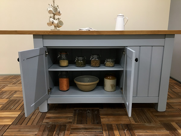 Freestanding Kitchen Island with Double Storage Cupboard