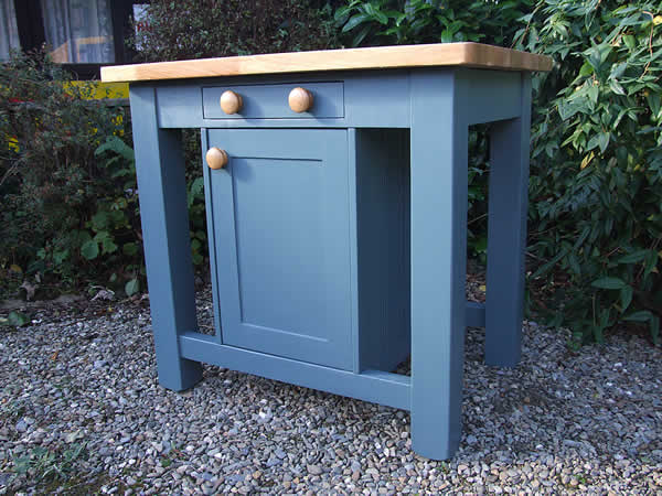 Small freestanding kitchen island in farrow & ball inchyra blue - side view