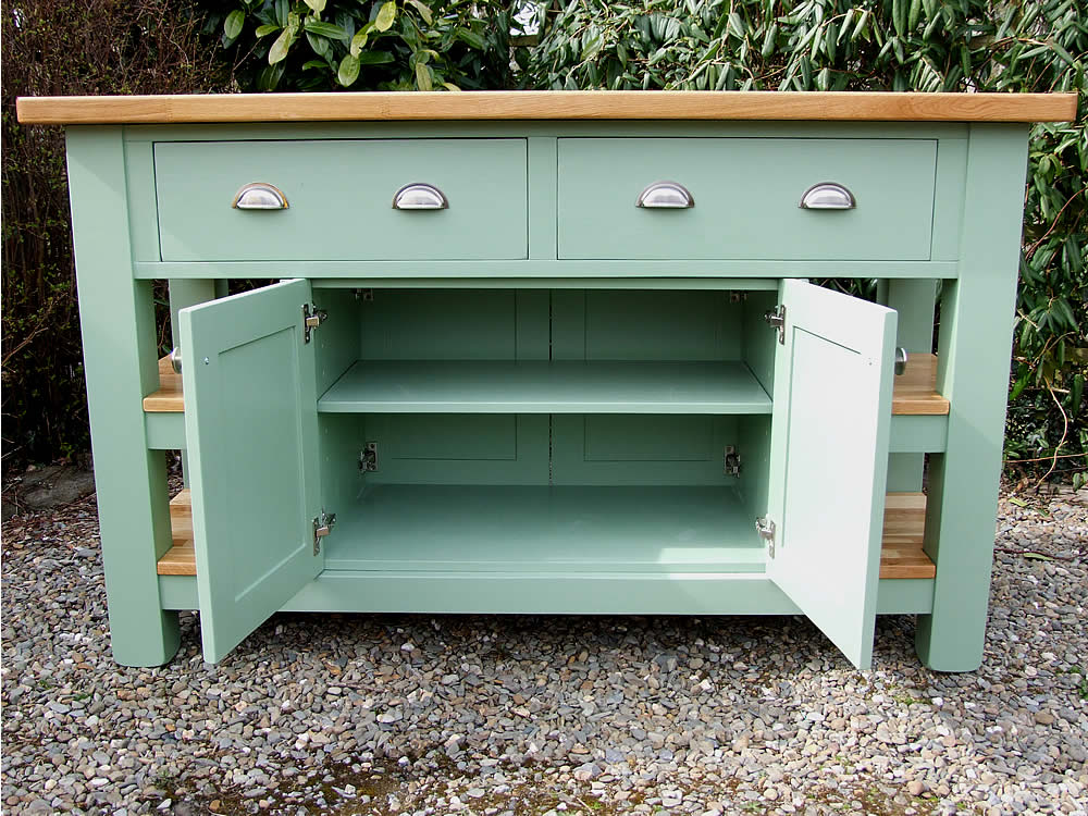 Medium freestanding kitchen island with double storage cupboard with adjustable shelf in Farrow & Ball Breakfast Room Green