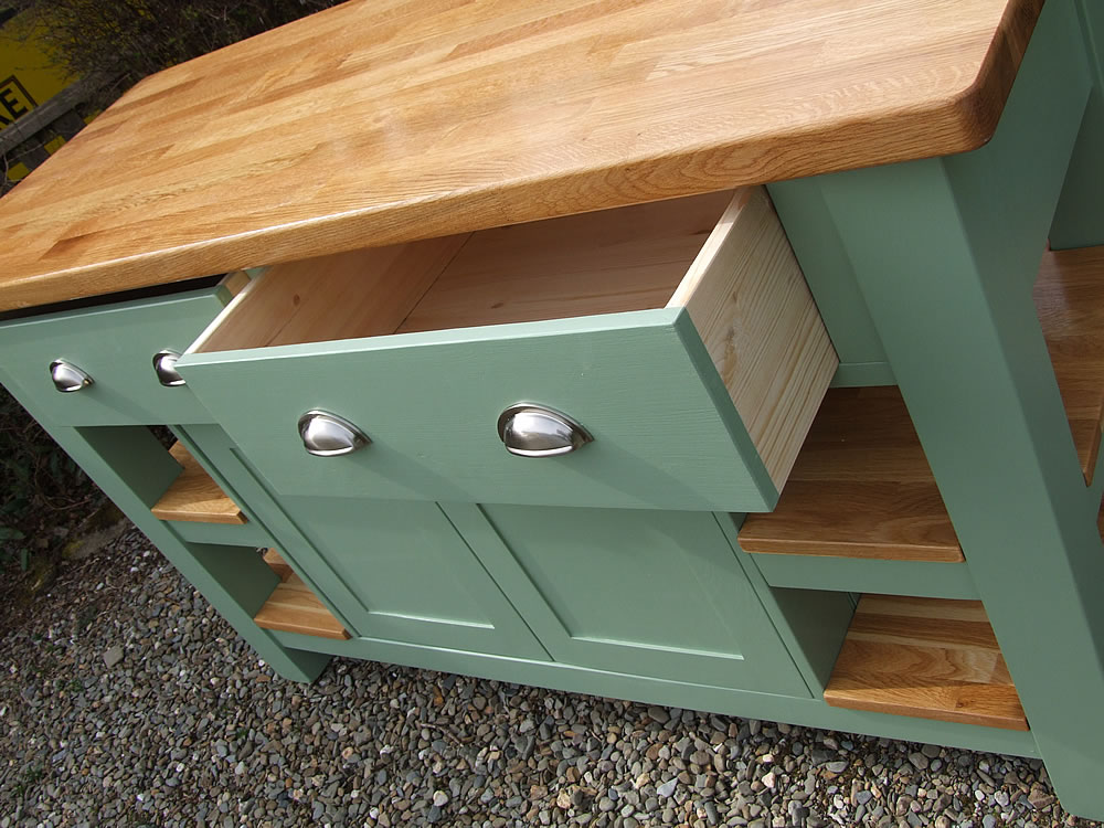 Medium freestanding kitchen island with large, deep, dovetail jointed drawers in Farrow & Ball Breakfast Room Green