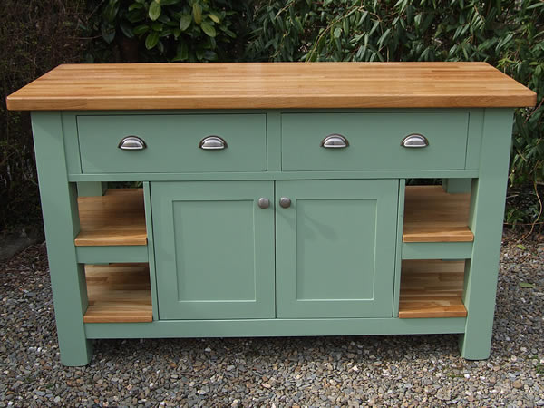 Medium freestanding kitchen island with double solid oak end shelves in Farrow & Ball Breakfast Room Green