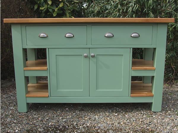 Medium freestanding kitchen island with deep side drawers & double solid end shelves in Farrow & Ball Breakfast Room Green