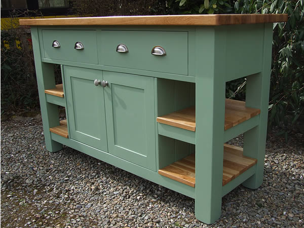 Medium freestanding kitchen island with double sided storage cupboard in Farrow & Ball Breakfast Room Green