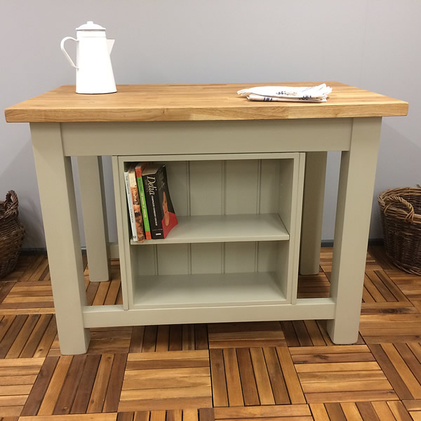 freestanding kitchen island with double storage cupboard & bookcase