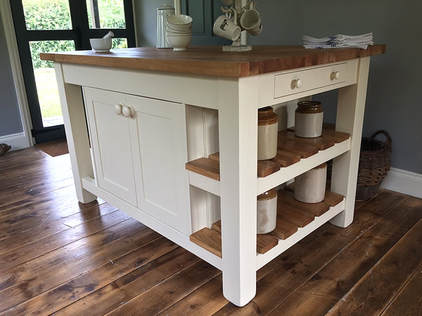 freestanding kitchen island with a double storage cupboard & slatted oak end display shelves