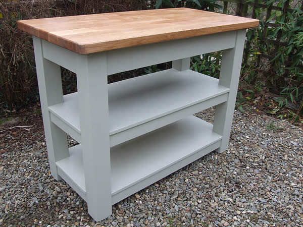 freestanding kitchen island with oak worktop & painted undershelves
