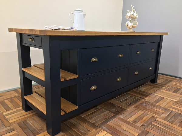 freestanding kitchen island with a double pan drawer storage & slatted oak end display shelves