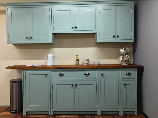 bespoke fitted kitchen painted in farrow & ball blue green eggshell.