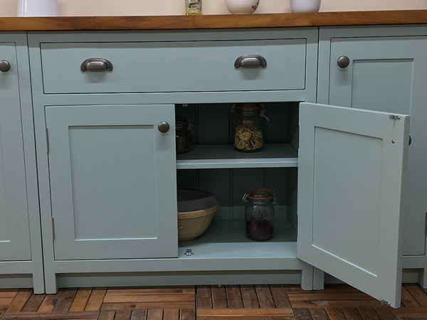 bespoke fitted kitchen wide drawer base cabinet.