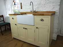 Cream Painted Freestanding Belfast Sink Cupboard with 2 Drawers - The Old Grammar School
