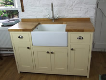 Cream Painted Freestanding Belfast Sink Cupboard Fitted with an Oak Worktop - The Old Grammar School