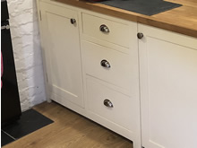 Cream Painted Freestanding Shaker Kitchen Cupboard with 3 Dovetail Jointed Drawers - The Old Grammar School
