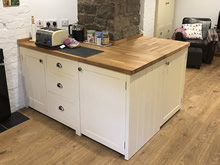 Cream Painted Freestanding Kitchen Cupboard with 3 Drawers - The Old Grammar School
