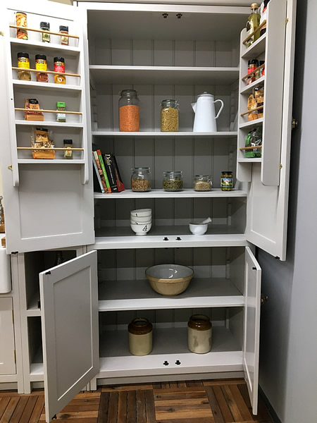 handmade solid wood kitchen larder with ample storage space painted in little greene french grey