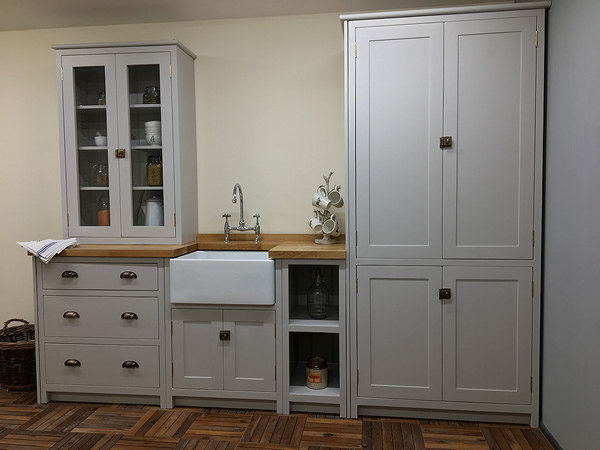 handmade solid wood kitchen hand painted in little greene french grey