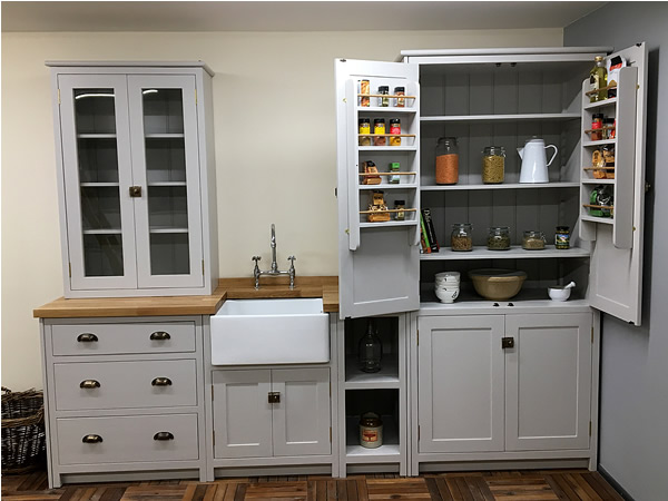handmade solid wood kitchen cabinets hand painted in little greene french grey
