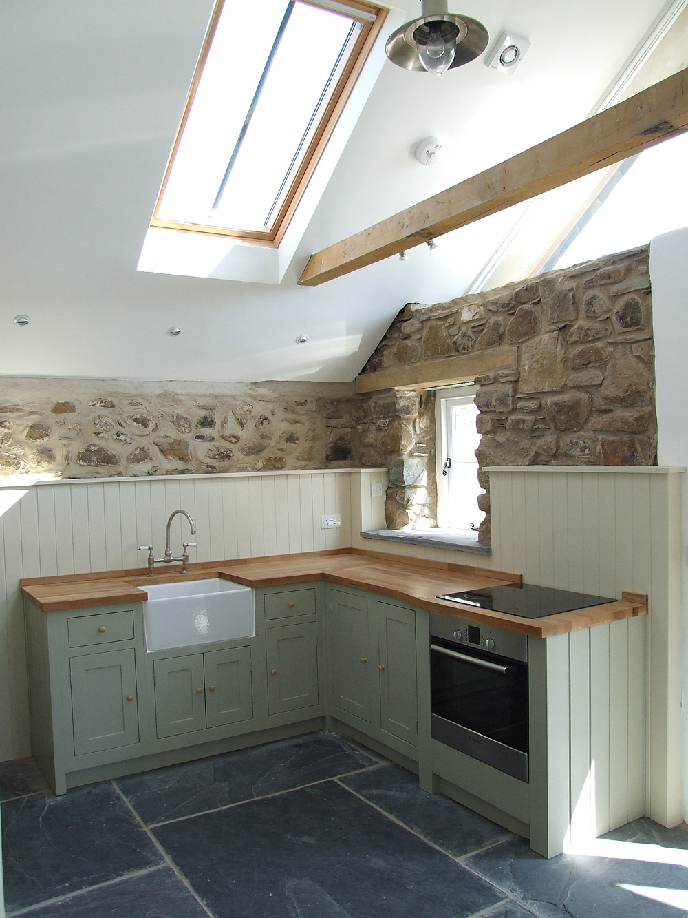 Painted in-frame Shaker kitchen built for a West Wales barn conversion