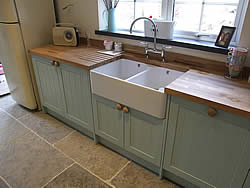 Painted Shaker kitchen double bowl Belfast sink
