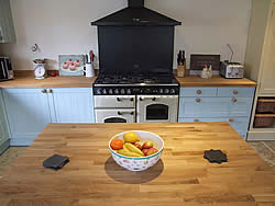 Painted Shaker kitchen freestanding island oak worktop