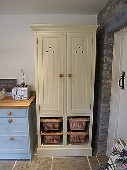 Painted Shaker kitchen freestanding larder cupboard with wicker baskets